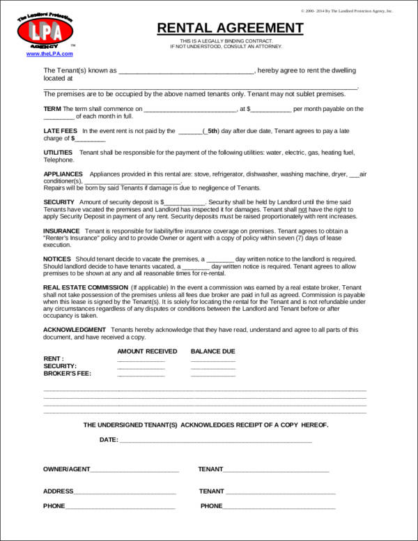 property rental agreement contract