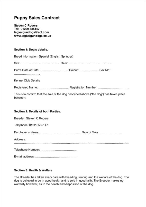 Puppy Sales Contracts | 10 Sales Contract Samples Templates Sample Templates