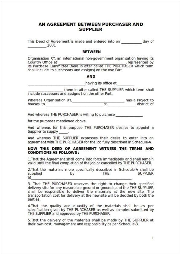 purchase contract template sample
