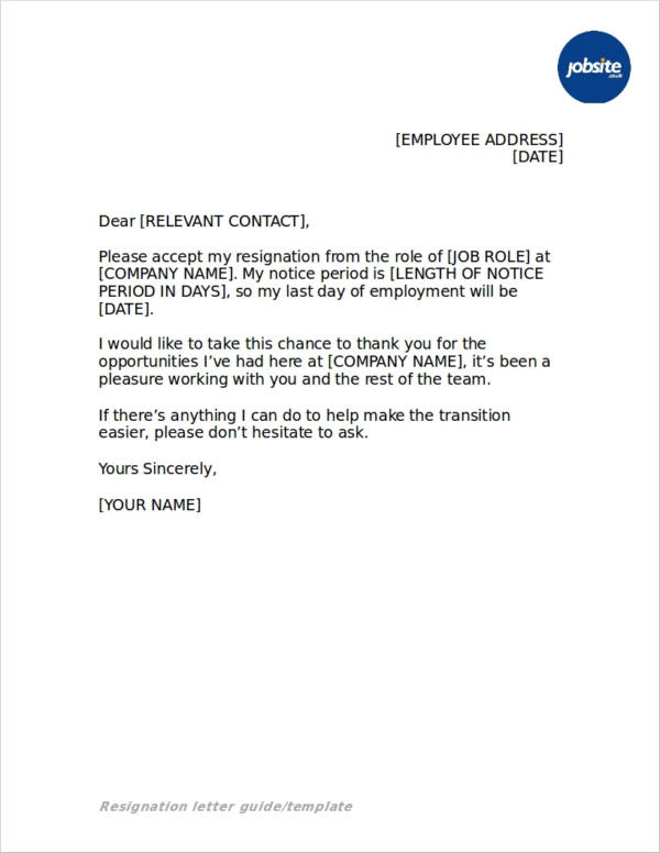 resignation letter template in doc