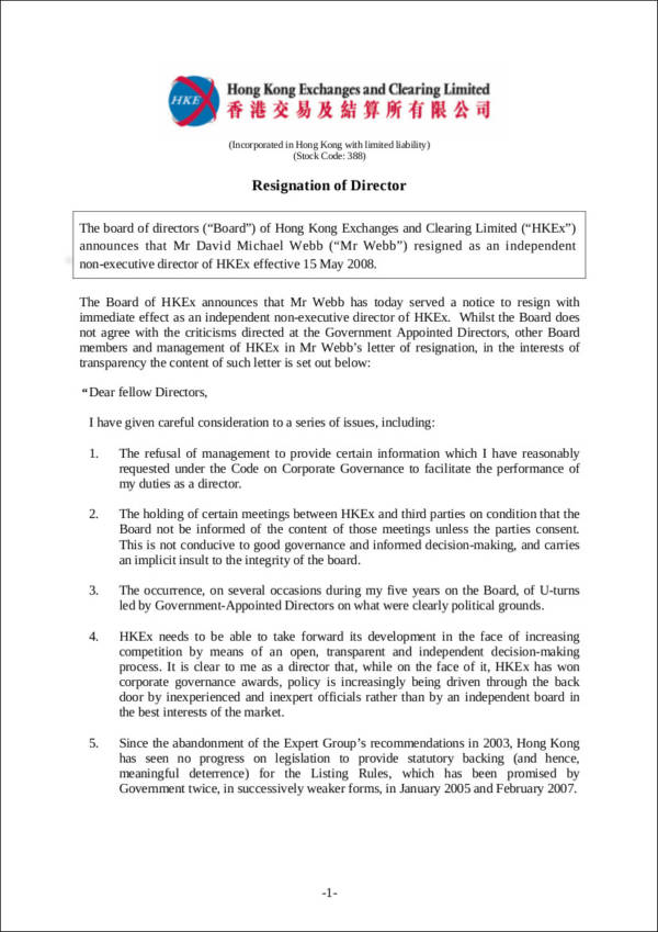 resignation letter of director