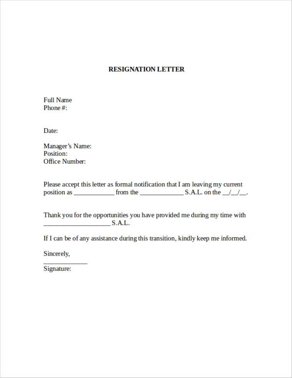 Microsoft Word Letter Of Resignation Template from images.sampletemplates.com