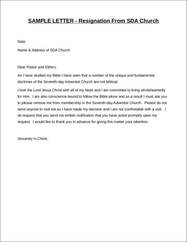 resigning from sda church resignation letter sample