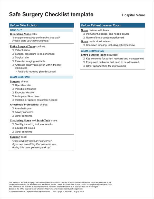 safe surgery checklist template