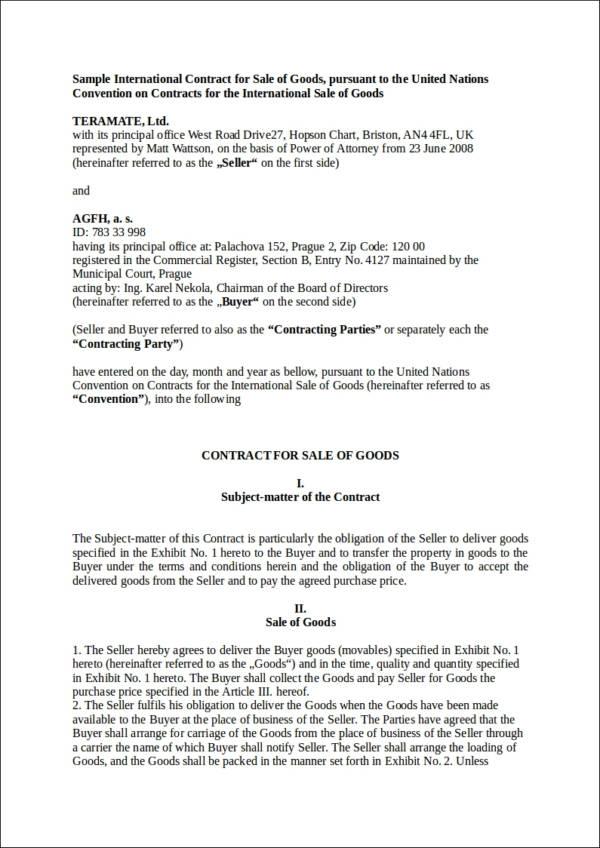 sample international contract for saleof goods