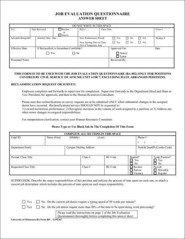 sample job evaluation form questionnaire