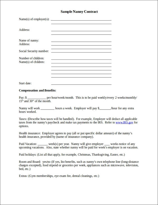 sample nanny contract template1