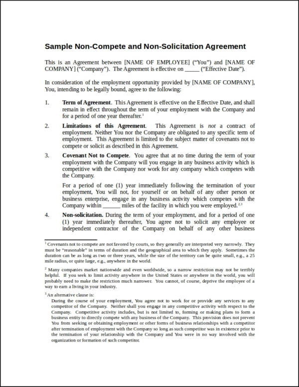 sample non compete and non solicitation agreement contract template