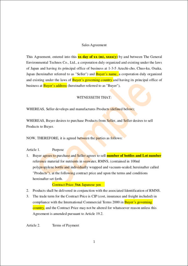 Sales Contract Sample Contract For The Sale Of Goods Template