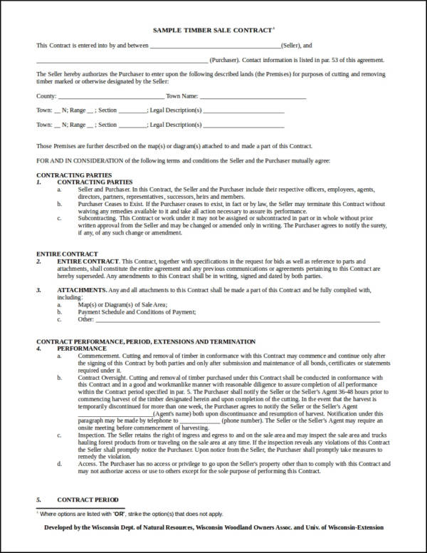sample timber sale contract template