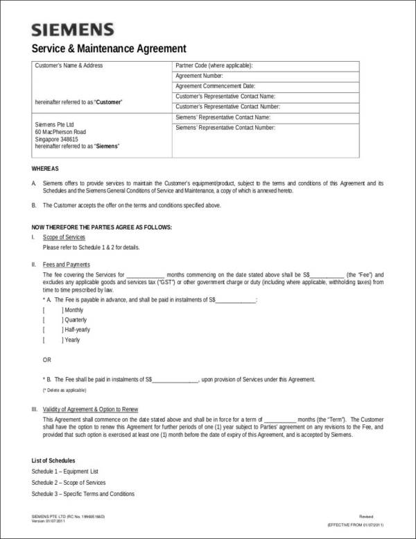 service and maintenance agreement contract template