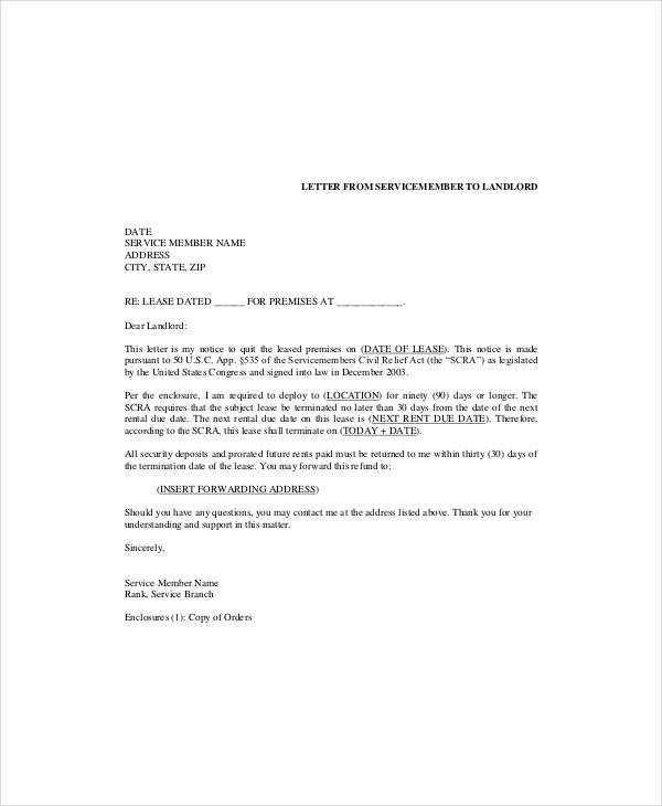 simple commercial tenant lease termination letter sample