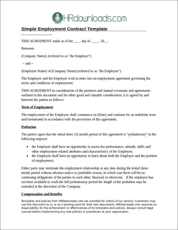 full time employment contract template - 20 employee contract samples templates sample templates