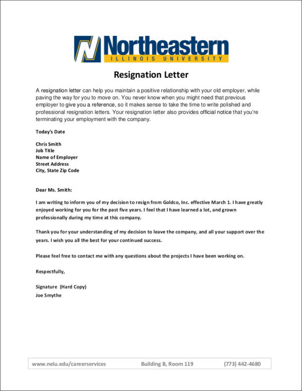 Free Printable Resignation Letter That Are Current