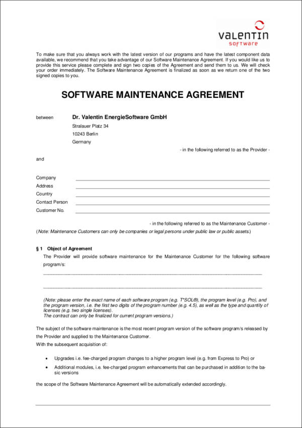 Maintenance Contract Samples  Templates  Free Word Pdf Format