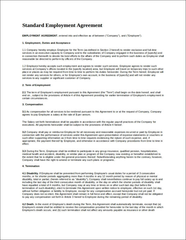 standard employment agreement contract template