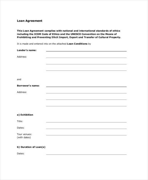 standard loan contract agreement for temporary exhibitions1