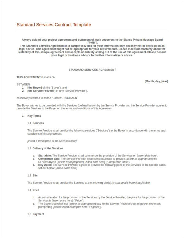 standard services contract template