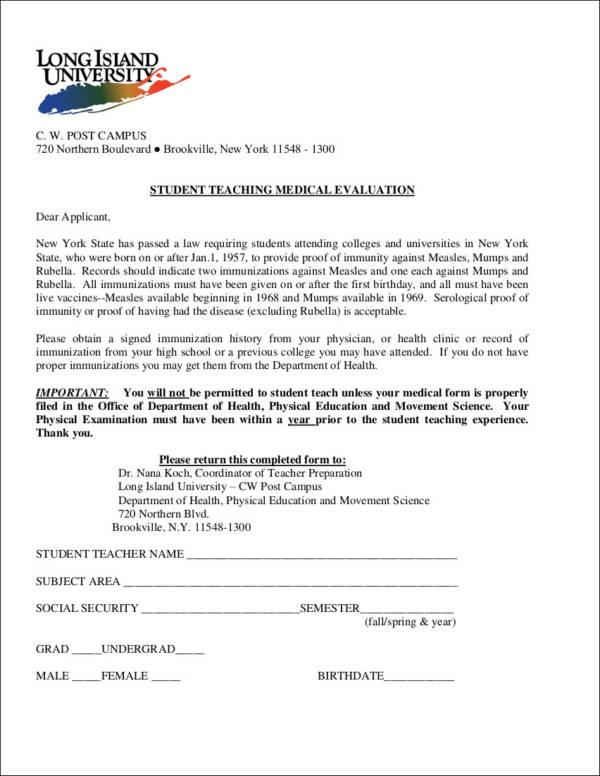 student medical evaluation form
