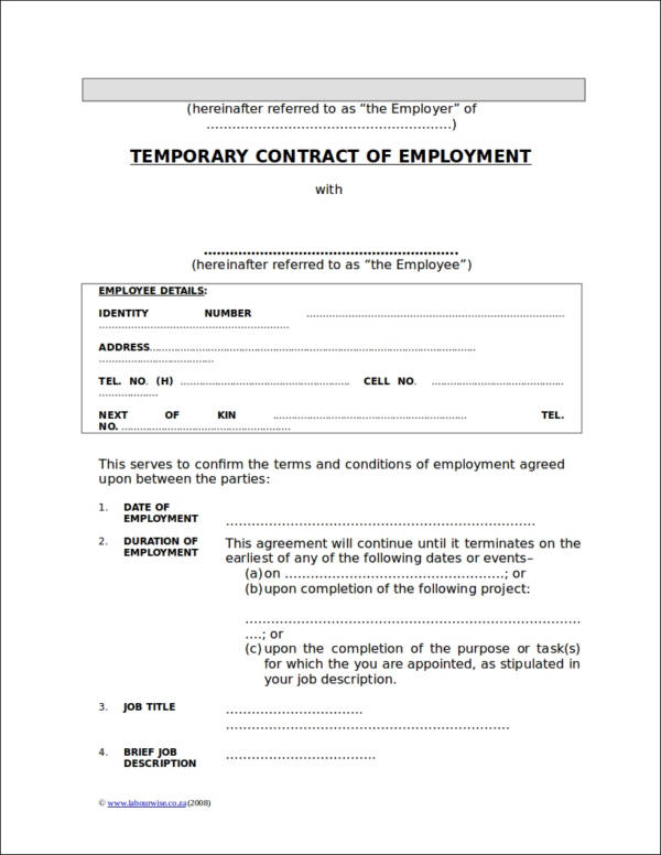 temporary employement contract template