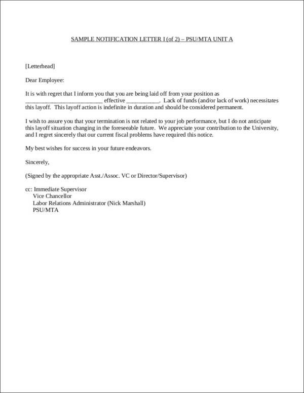 termination letter due to lack of funds and or work