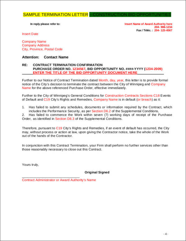 termination letter for construction bid opportunities