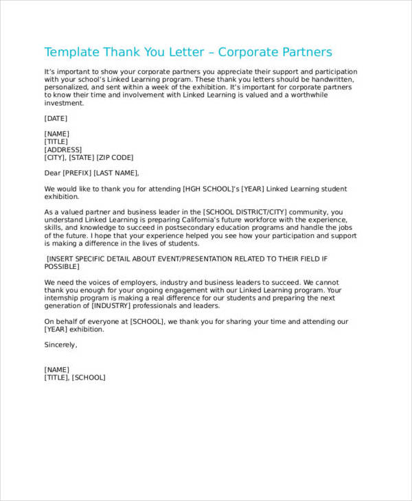 thank you letter template for corporate partners