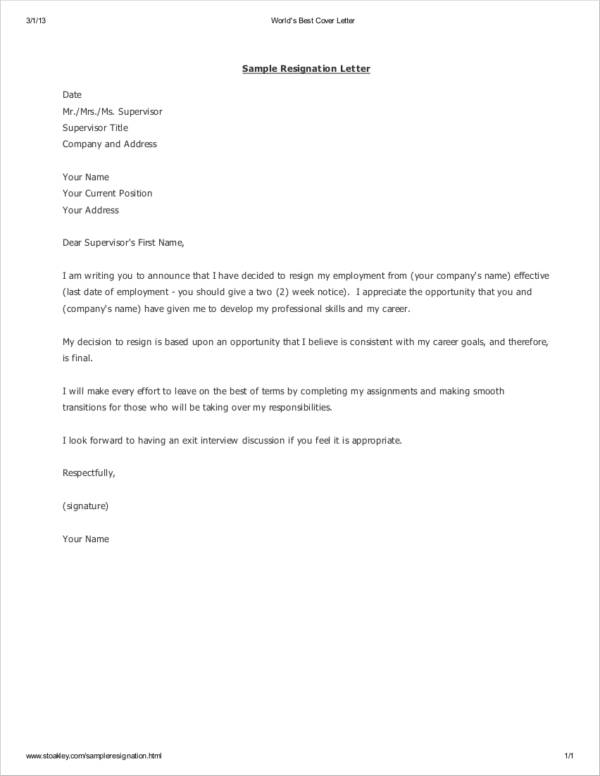 two weeks resignation letter template in pdf