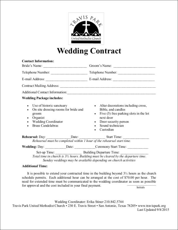 Wedding Contract Samples  Templates  Free Word Pdf Format Download