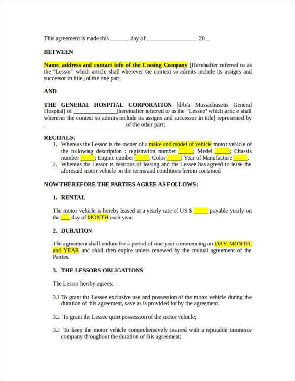 vehicle lease agreemen contract template