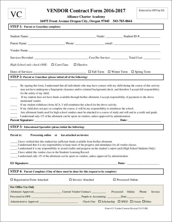 vendor contract form template
