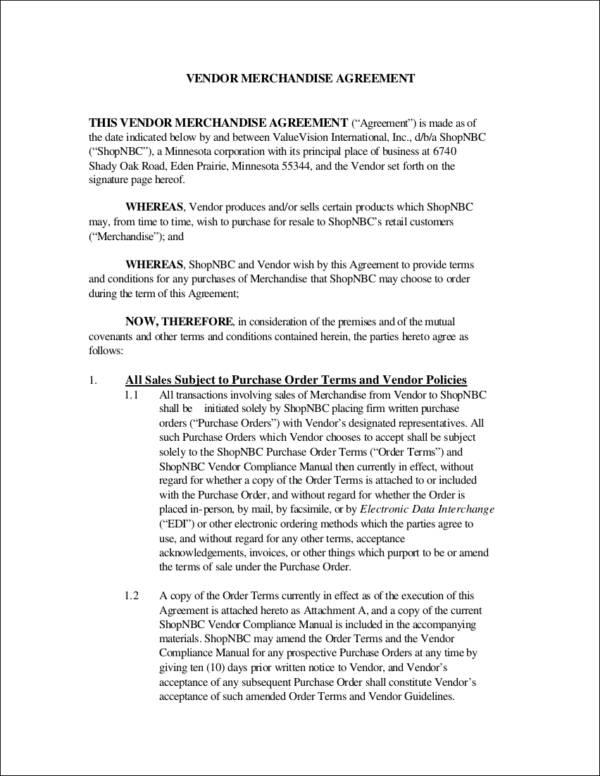 vendor merchandise agreement contract
