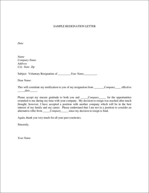 33 printable resignation letter samples templates sample templates voluntary resignation letter sample thecheapjerseys Choice Image
