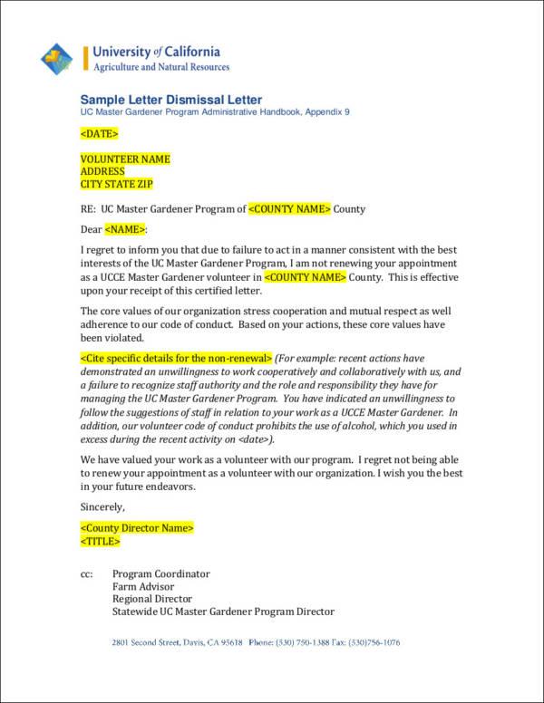 free 33  printable termination letter samples  u0026 templates