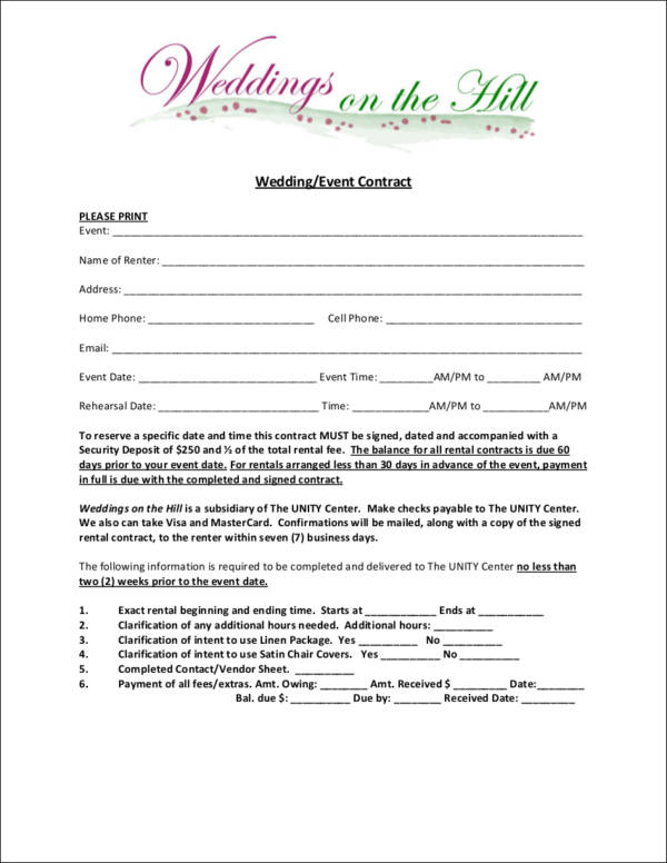 wedding contract template for a wedding on a hill