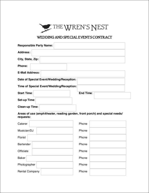 wedding and special events contract template