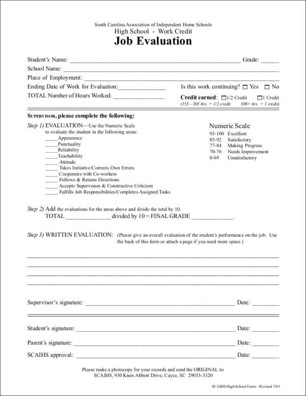 work credit job evaluation form