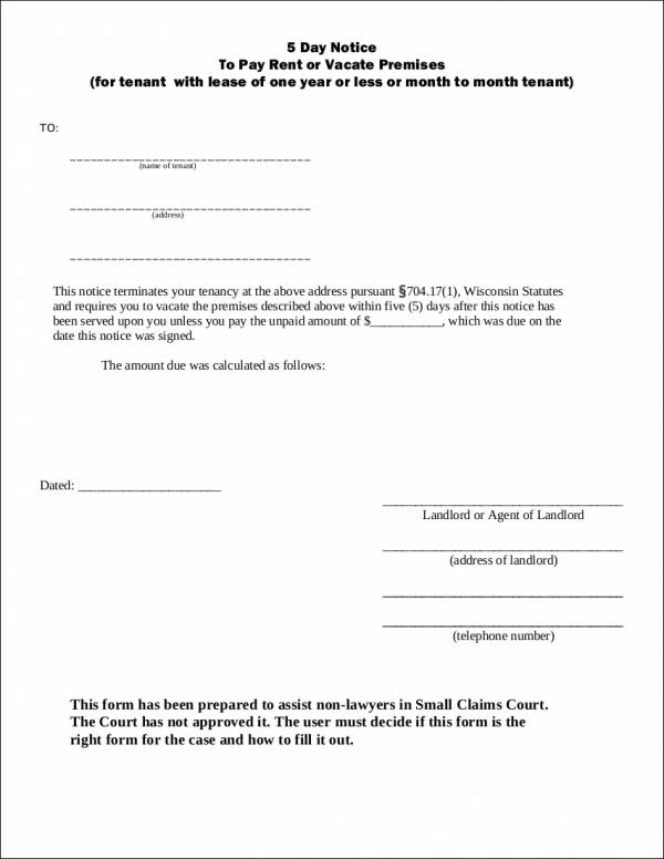 5 day notice to pay rent or vacate premises