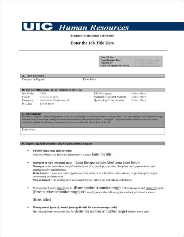 academic professional job profile template