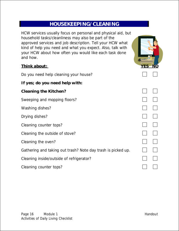 activities of daily living adl checklist