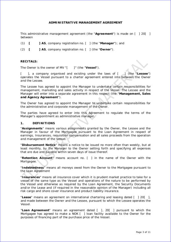 administrative management agreement contract template