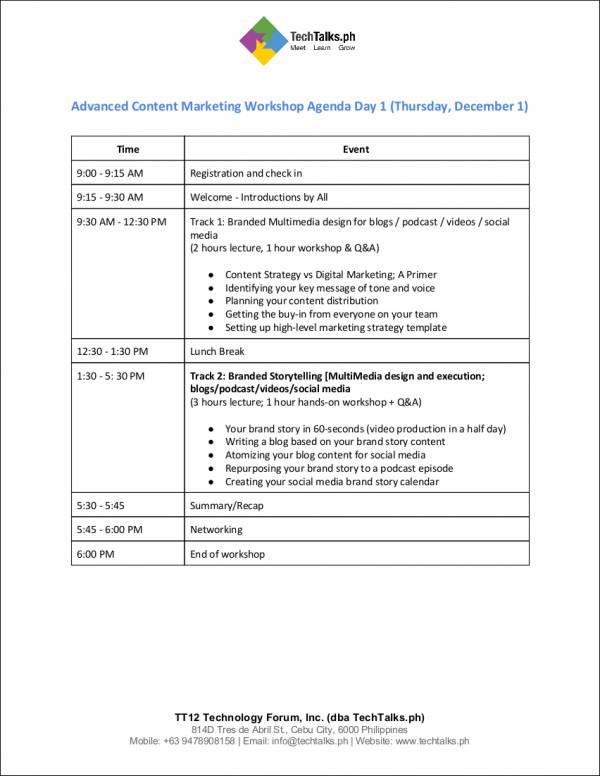 advanced content marketing workshop agenda