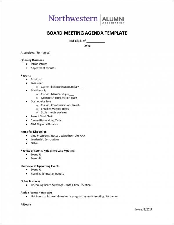 alumni association board meeting agenda template