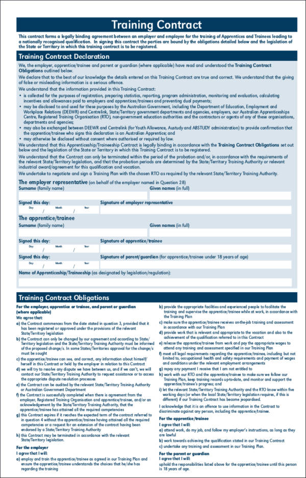 apprenticeship or traineeship training contract template
