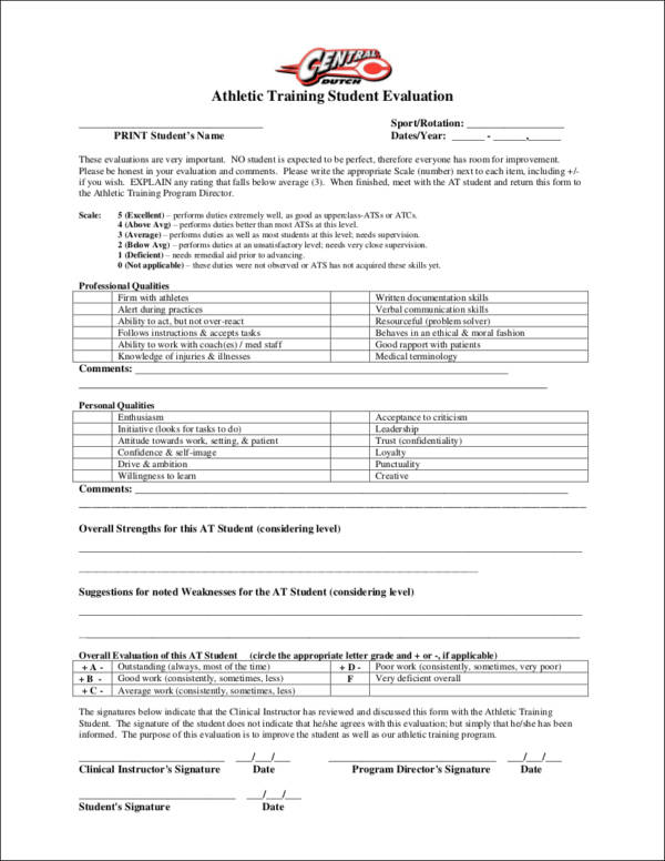 athletic training student evaluation form for trainer