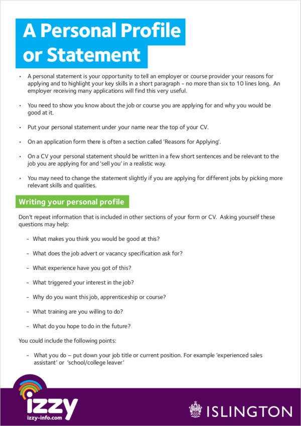 Free 11 Personal Profile Samples In Pdf Ms Word