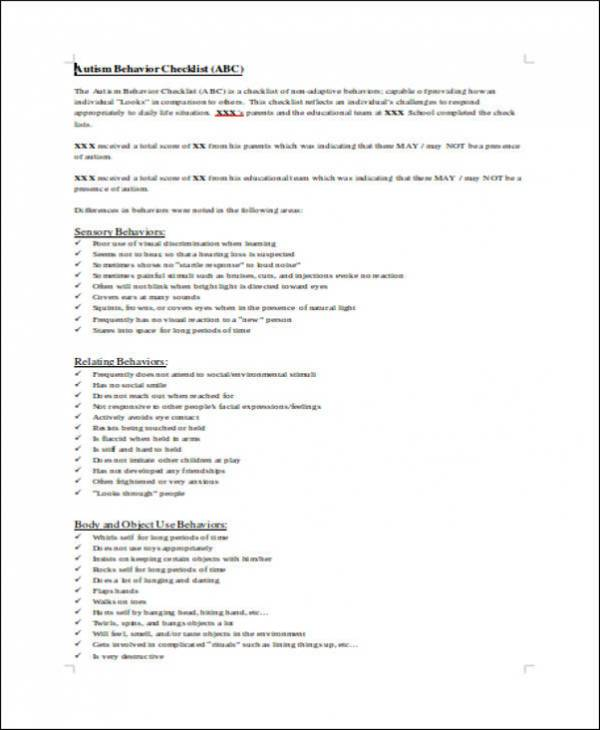 behavior checklist in doc