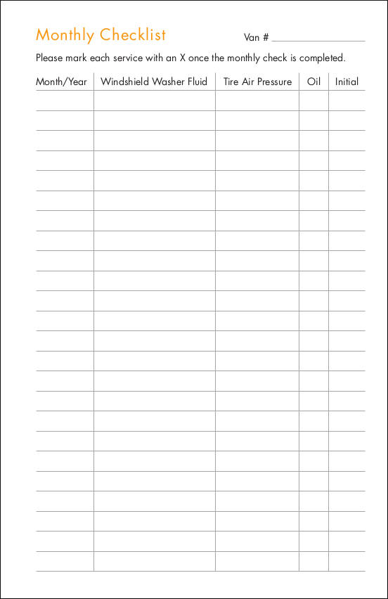 blank monthly checklist template