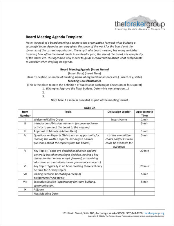 board meeting agenda template in pdf
