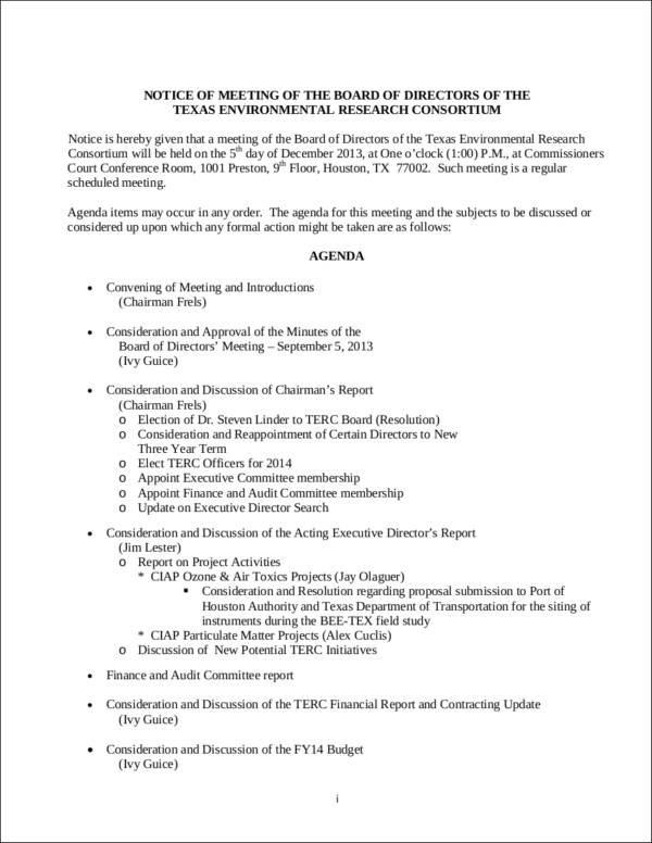 notice of board meeting template - 10 meeting notice samples templates sample templates